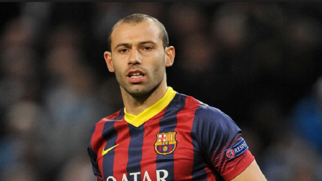 Barcelona's Javier Mascherano could be out for two weeks with thigh injury