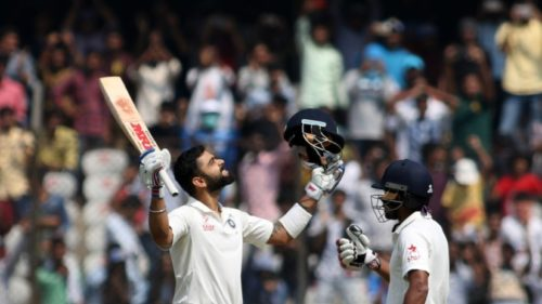 Hyderabad: India's captain Virat Kohli celebrates his double century on the second day of the only test match between India and Bangladesh in Hyderabad on Feb. 10, 2017. (Photo: Surjeet Yadav/IANS)