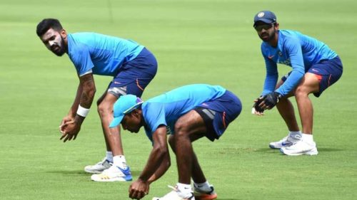 Bengaluru: Indian cricketers during a practice session ahead of the second test match between India and Australia in Bengaluru on March 2, 2017. (Photo: IANS)