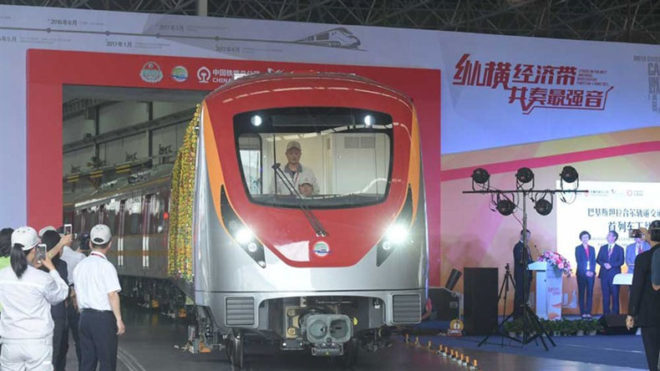 China has rolled out subway trains for Pakistan