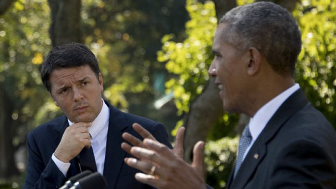 Barack Obama meets with former Italian PM Renzi in Milan