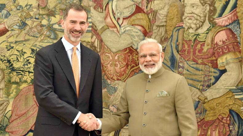 PM Modi calls on Spanish King Felipe VI at royal palace