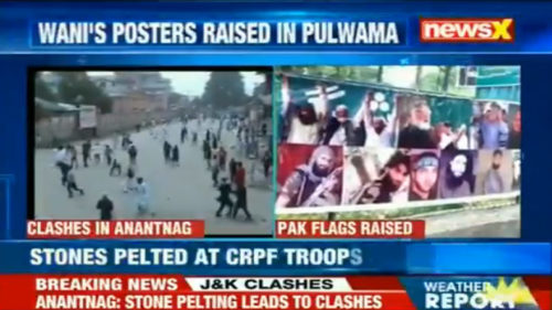 Clashes in Kashmir after Eid prayers; Burhan Wani posters, Pakistan flags raised