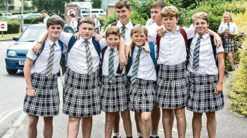 Teenage boys wear 'skirts' to protest against school policy