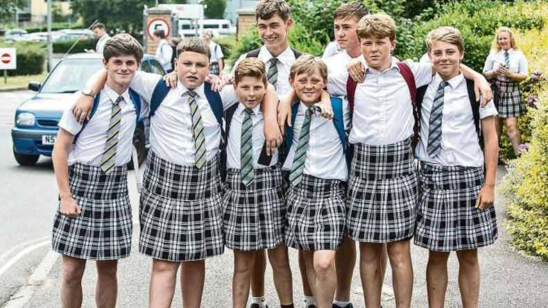 teenage boys wear skirts to protest against school policy   news in english newsx