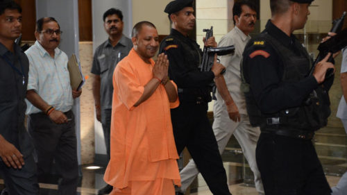 Lucknow: Uttar Pradesh Chief Minister Yogi Adityanath arrives to attend cabinet meeting in Lucknow, on June 6, 2017. (Photo: IANS)