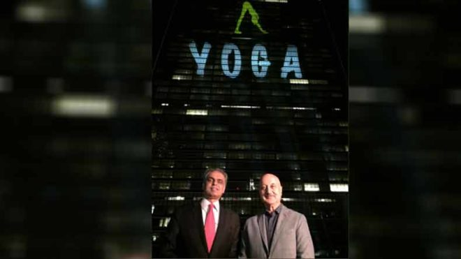Veteran actor Anupam Kher illuminates UN building in New York
