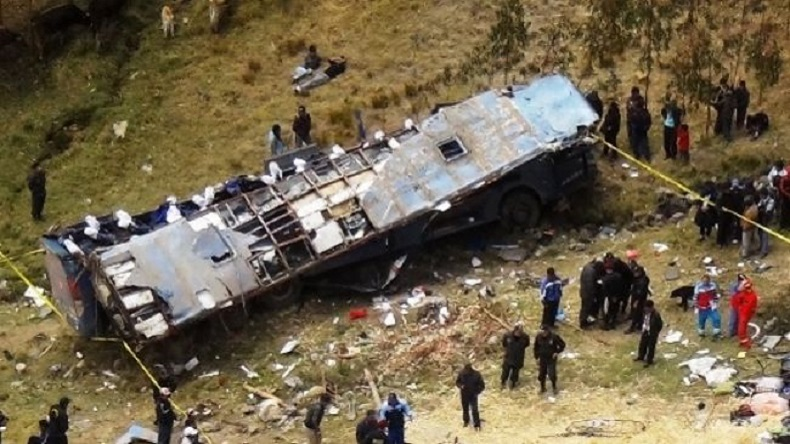 Tour bus crashes in Peru's capital, killing at least 9