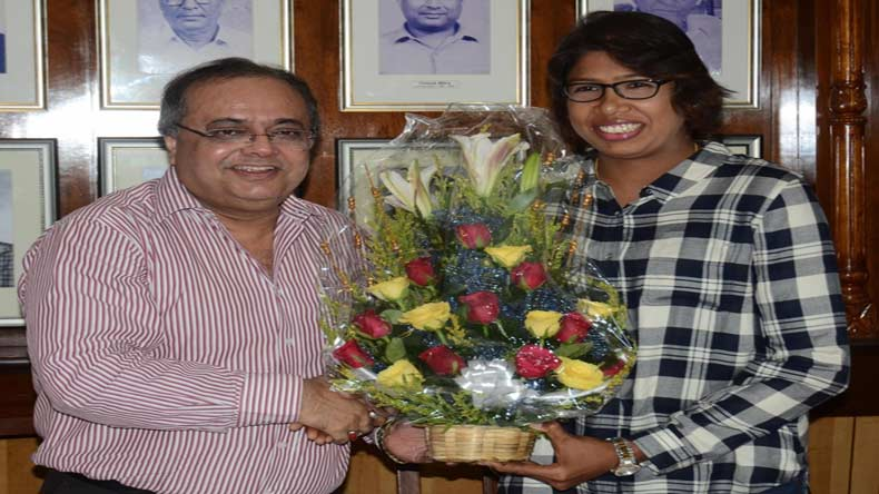 Jhulan Goswami honoured by CAB after World Cup heroics