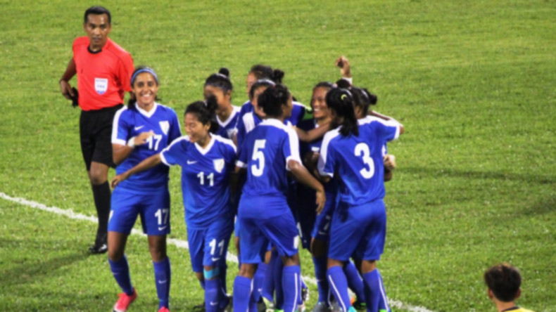 Kuala Lumpur: Indian Women's football team players celebrate after their win against Malaysia during an international friendly match at the MP Selayang Stadium in Kuala Lumpur on July 31, 2017. (Photo: IANS)
