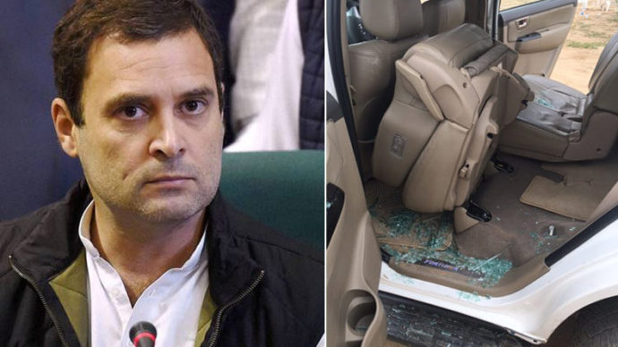 Rahul Gandhi, Rahul Gandhi convoy attack, Congress, Rajnath Singh, vice-president, Lal Chowk, Dhanera, Banaskanta, BJP, Protests, Black Flags, Car, Protesters, Gujarat, Flood Affected Areas, Gujarat Floods, National News, Latest News