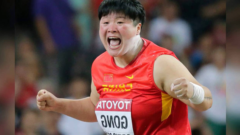 Olympic champ Gong Lijiao wins China's first gold at IAAF World Championships