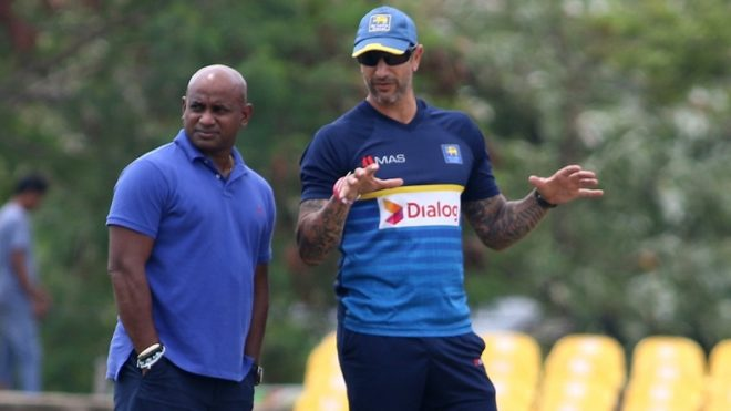 Dambulla: Sri Lanka's chief selector Sanath Jayasuriya, captain Upul Tharanga and interim head coach Nic Pothas inspect the pitch during a practice session ahead of the first one-day international cricket match against India in Dambulla, Sri Lanka on Aug 19, 2017. (Photo: Surjeet Yadav/IANS)