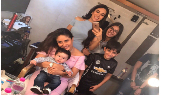 Cuteness overload! Aww moment as Taimur visits Karisma and Kareena