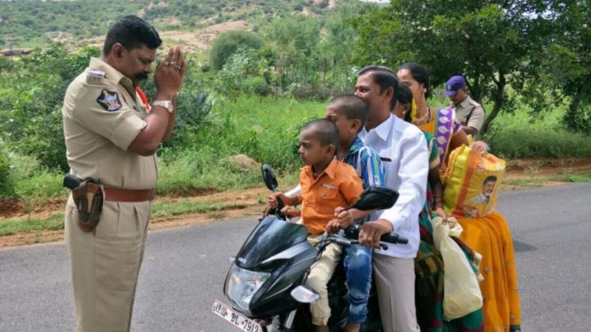 Andhra policeman pleads with repeat traffic offender to wear helmet
