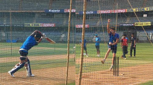 India vs New Zealand: Arjun Tendulkar bowls to Virat Kohli, Dhawan and Rahane as Ravi Shastri looks on during nets