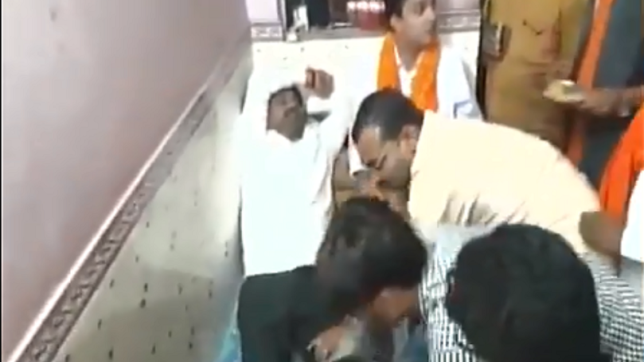 'Tired' UP BJP minister Nand Gopal Gupta 'Nandi' gets foot massage from party workers