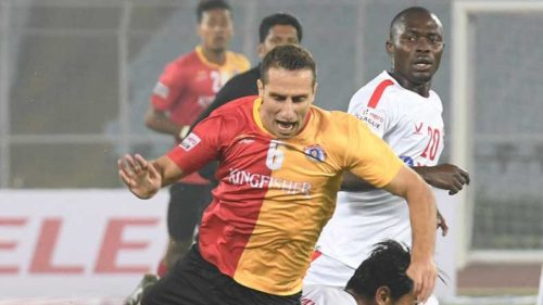 Kolkata: Players in action during I-League match between East Bengal and Aizawl FC at Salt Lake Stadium in Kolkata on Nov 28, 2017. (Photo: Kuntal Chakrabarty/IANS)