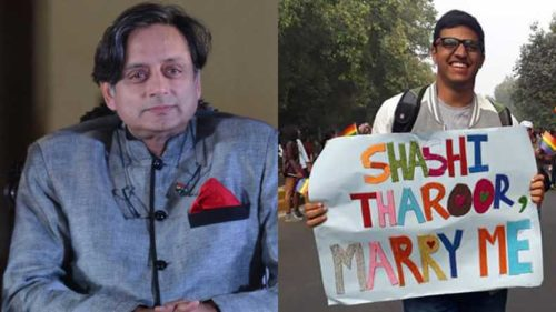 Shashi Tharoor's reply to marriage proposal from a boy at Delhi Pride Parade wins twitter