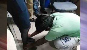 WATCH! Indigo female staffer makes 2 inebriated men touch her feet for misbehaviour