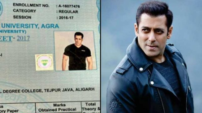 Absurd! Agra University uses Salman Khan's photo in student's college marksheet