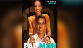 Padman new poster: Akshay Kumar, Radhika Apte are all smiles while holding a sanitary napkin