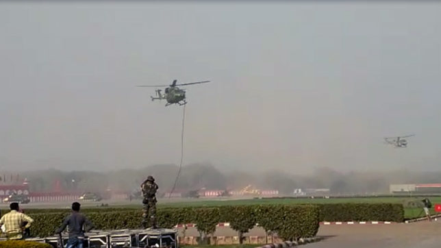 Indian Army Personnel Fall From Chopper During Security Drill