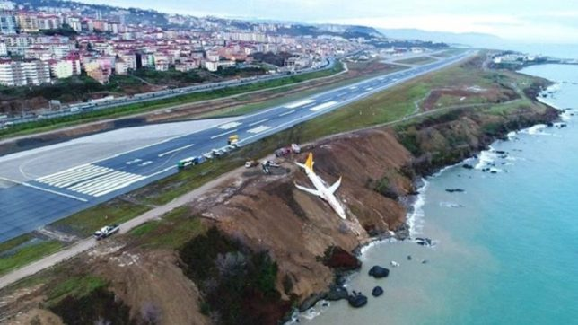 Airplane skids off runway in northern Turkey; caught in mud