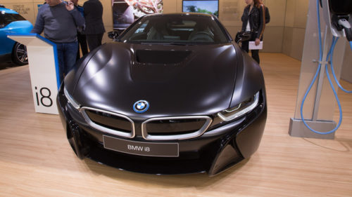A BMW i8 is seen on the second press day of the 87th International Motor Show in Geneva, Switzerland