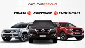 Isuzu MU-X, Toyota Fortuner, Ford Endeavour, Isuzu, Toyota, Ford, Performance, Features and Price, Car Compare, Speed, Average, Air Bags, Space, Auto News, Isuzu MU-X Vs Toyota Fortuner Vs Ford Endeavour, Latest News