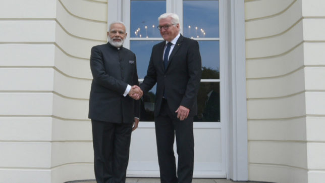 Berlin: Prime Minister Narendra Modi calls on President of Germany, Mr. Frank-Walter Steinmeier, at Castle Bellevue, in Berlin, Germany on May 30, 2017. (Photo: IANS/PIB)