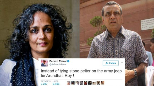 Tweeple slam Paresh Rawal for his tweet against Arundhati Roy