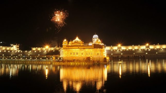Amritsar: Fireworks light the sky above the Golden Temple on Gur Gadi Diwas in Amritsar, on May 19, 2017. (Photo: IANS)