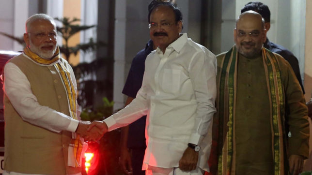 PM Modi congratulates Union Minister Venkaiah Naidu after he was named NDA's Vice Presidential candidate
