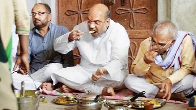 Rajasthan: BJP President Amit Shah lunches at Dalit worker's house