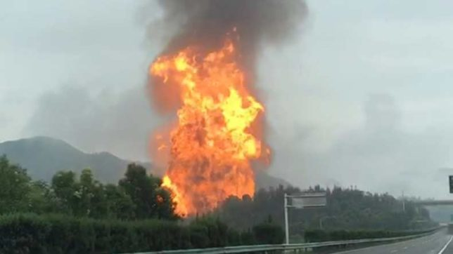 QINGLONG, July 2, 2017 (Xinhua) -- The site of a gas pipeline explosion is seen in Qinglong, southwest China's Guizhou Province, July 2, 2017. At least eight people died and another 35 were injured in a natural gas pipeline explosion in southwest China's