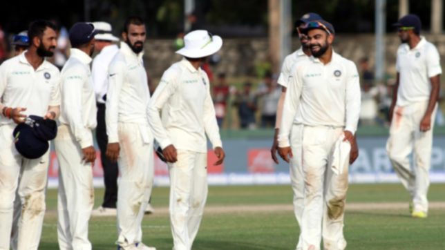Colombo: Indian skipper Virat Kohli leads his teammates back to the pavilion at the end of Day 3 of the second test match between India and Sri Lanka at Sinhalese Sports Club Ground in Colombo, Sri Lanka on Aug 5, 2017. (Photo: Surjeet Yadav/IANS)