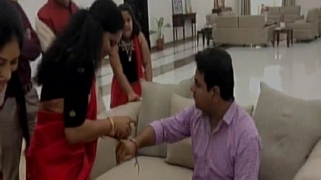 Telangana MP Kavitha gifts a helmet to minister-brother KT Rama Rao