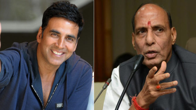 Rajnath Singh praises Akshay Kumar for supporting Indian soldiers