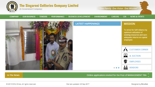 SCCL to issue notification for 750 posts today @ scclmines.com