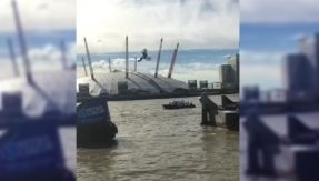 Watch this jaw-dropping back-flip by stuntman Travis Pastrana over River Thames