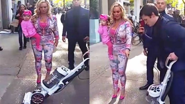 Man spotted vacuuming the ground Ice-T's wife Coco Austin walks on!