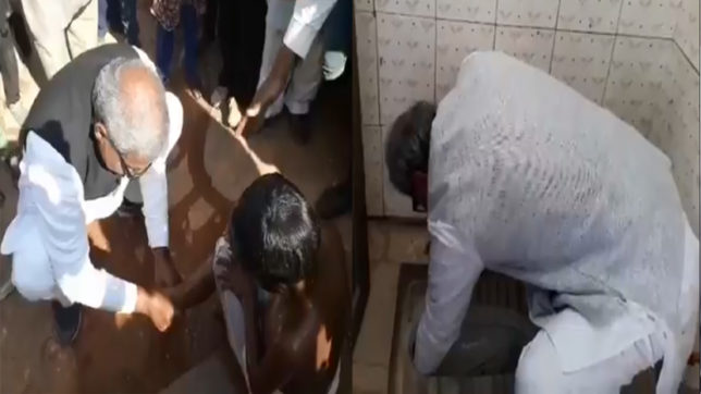 BJP MP Janardan Mishra unclogs toilet with bare hands, give bath to students and clip nails during school visit