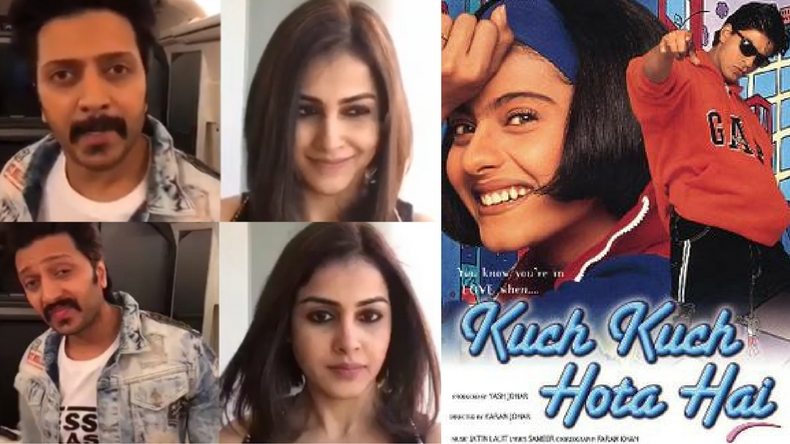 Riteish Deshmukh and Genelia D'Souza take on the role of Rahul and Anjali in the cute Kuch Kuch Hota Hai tribute