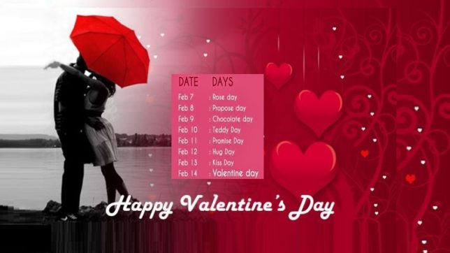 Valentine Week List 2018 Valentine S Day Dates Timetable