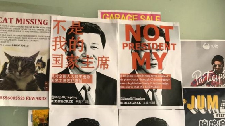Xi jinping, Chinese President, china president, not my president, Chinese parliament, posters against Xi jinping, western universities protest, australia, @stopxijinping, twitter, world news, China, Xi president for life