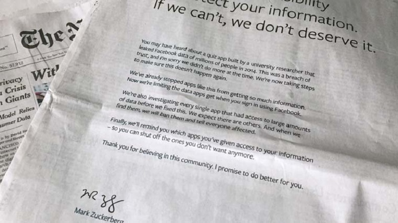 Facebook apology, facebook sorry, full page ad, advertisement, apologies, fatabook data breach, facebook data leaks,Cambridge, US newspapers, UK newspapers, Analytica, Mark Zuckerberg, Facebook CEO, CEO Mark Zuckerberg, technology news,