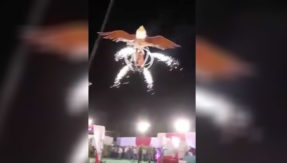 Watch: Indian couple makes entry in their own marriage in a flying eagle