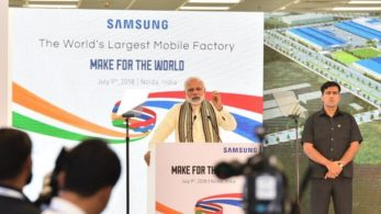 Prime Minister Narendra Modi speaks during the launch of the Samsung Electronics smartphone manufacturing facility, world's largest mobile phone factory in Noida, Uttar Pradesh
