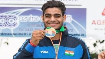 Asian Games 2018, medal, Shooting, Lakshay, Men's trap event
